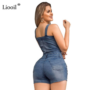Liooil Hole Sexy Bodycon Short Jumpsuit Women Summer 2020 Spaghetti Strap Strapless Button Up Rompers Womens Jumpsuit Shorts 3