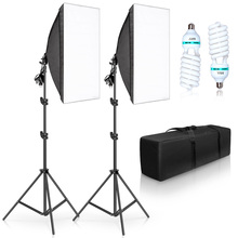 50x70CM Photography Single Lamp Softbox Lighting Kits Camera Accessories E27 Base With 2pcs 135W photo Bulbs For Youtobe Video