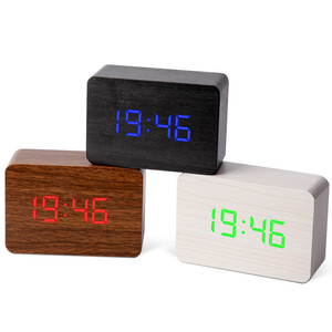 Image 5 - Multicolor LED Wooden Alarm Clock Watch Table Voice Control Digital Wood Despertador Electronic Desktop USB/AAA Powered Clocks