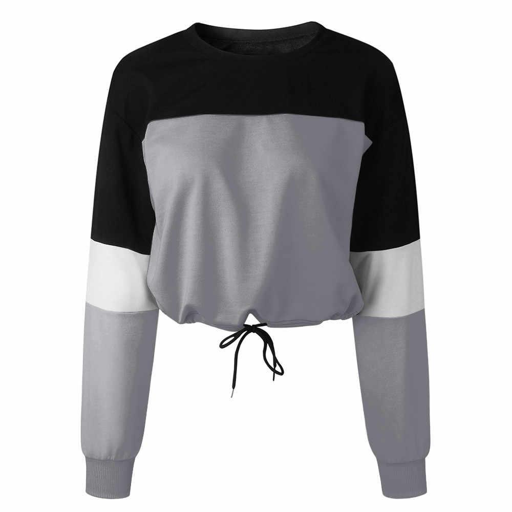 Wanita Lengan Panjang Splcing Warna Sweatshirt Fashion Tali Tops Pullover Blus Kepribadian Fashion Lebar Lengan Hoodie