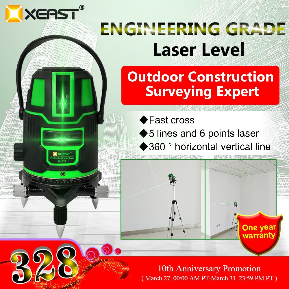 3D Green 5 Line 6 Points Laser Level Outdoor 360° Self Leveling Measure Tripod