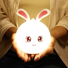 Cartoon Rabbit LED Night Light Remote Control Touch Sensor Colorful Silicone Bunny USB Rechargeable Animal Lamp for Children Baby