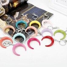Resin Moon Keychain Keyring Heart Half Colorful Glitter Key Chain Girl Cute Romantic Gift For Women