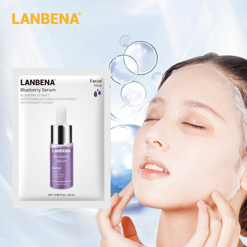 LANBENA Blueberry Face Mask Skin Care Shrink Pores Anti Acne Repair Skin Nutrition Inhibits Oxidation Elastic Skin Plant Extract