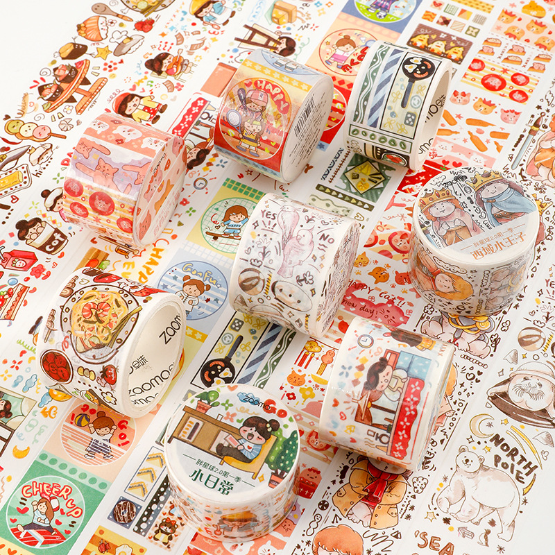 1 Roll Kawaii Washi Tape Cute Cartoon Girl Daily Pattern Masking Tape Diary Journal Decoration Stationery Paper Washi Tape