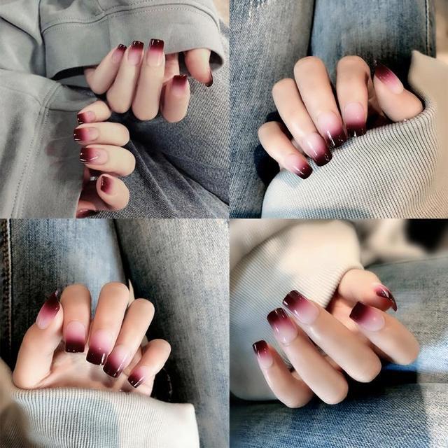 24 pièces faux ongles couverture complète faux ongles cristal élégant dégradé français ongles courts carré Double face colle forme court faux ongles