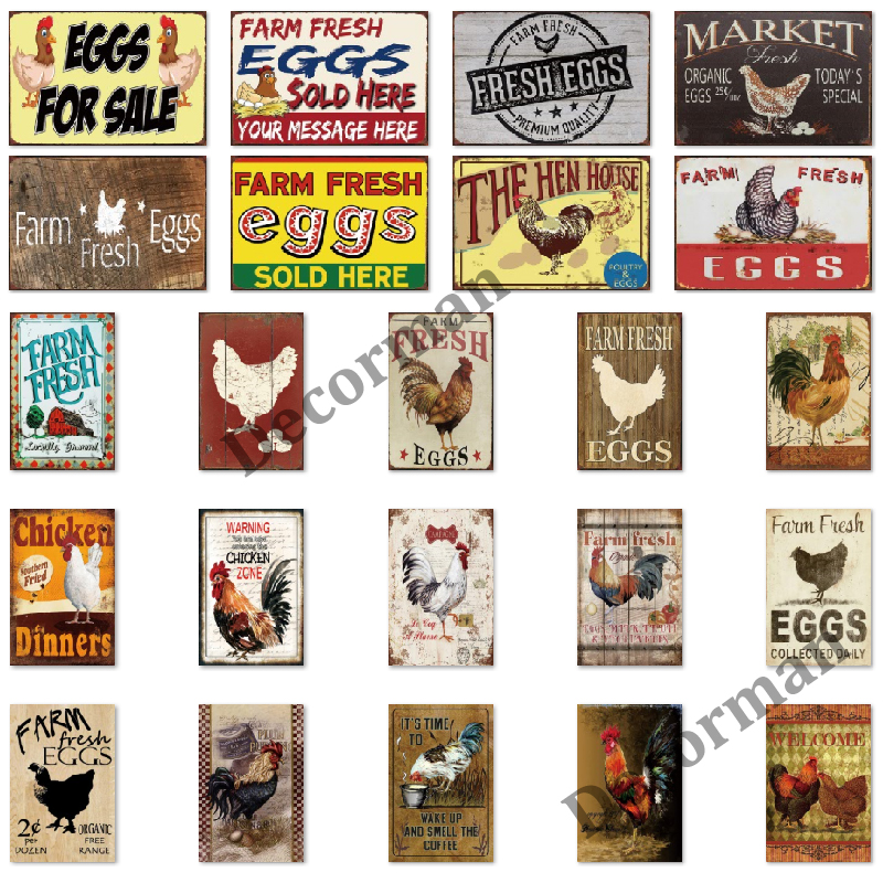[ Mike86 ] EGGS Tin Sign Vintage Wall Posters Farm Metal Painting Gift art decor for Bar LTA-1750 20*30 CM(China)