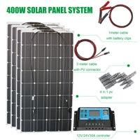 Genuine 400w flexible solar panel kit solar power home system with 12v 30A regulator for lead acid battery