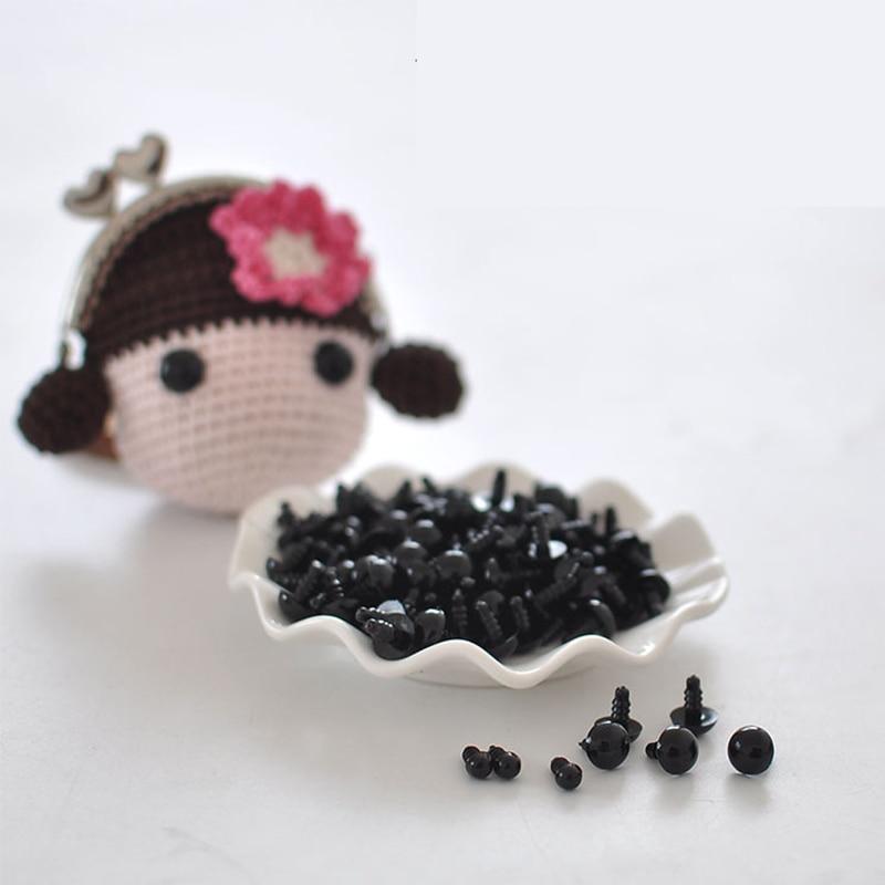 100pcs 6-12mm Black Plastic Safety Eyes For Toys Doll Crafts Teddy Bear Dolls Soft Toy Making Animal Amigurumi Accessories-2