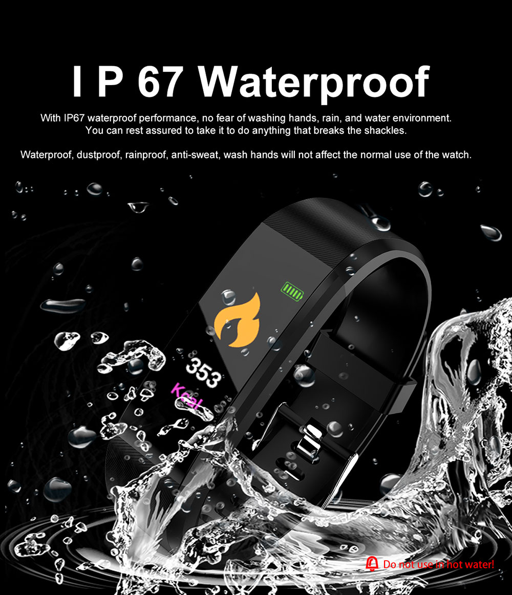 H22f0d9fcf21d4989a6d0593d354f1204C Smart Bracelet Watch for Men Women 115 Plus Smart Wristband Fitness Tracker Pressure Sport Watch Heart Rate Monitor Band A2