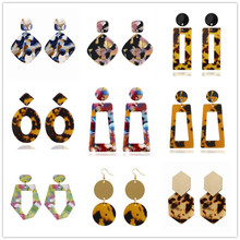 Bohemia Acrylic Resin Drop Earrings for Women Leopard Print Round Dangle Earrings Boho Fashion Female Jewelry statement Earrings