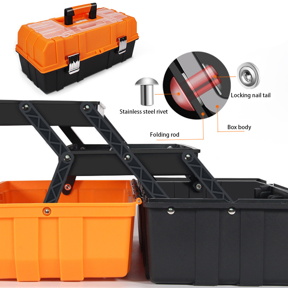17inch Foldable Tool Box Storage Case Organizer Multifunction Sturdy Household Craft Portable Three Layers Repair Durable