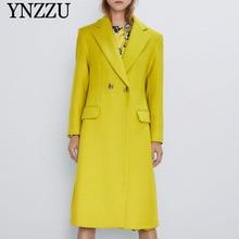Yellow Women Double breasted Woolen coat 2019 Winter Long sleeve Slim Outwear Turn down collar jackets Elegant YNZZU 9O006