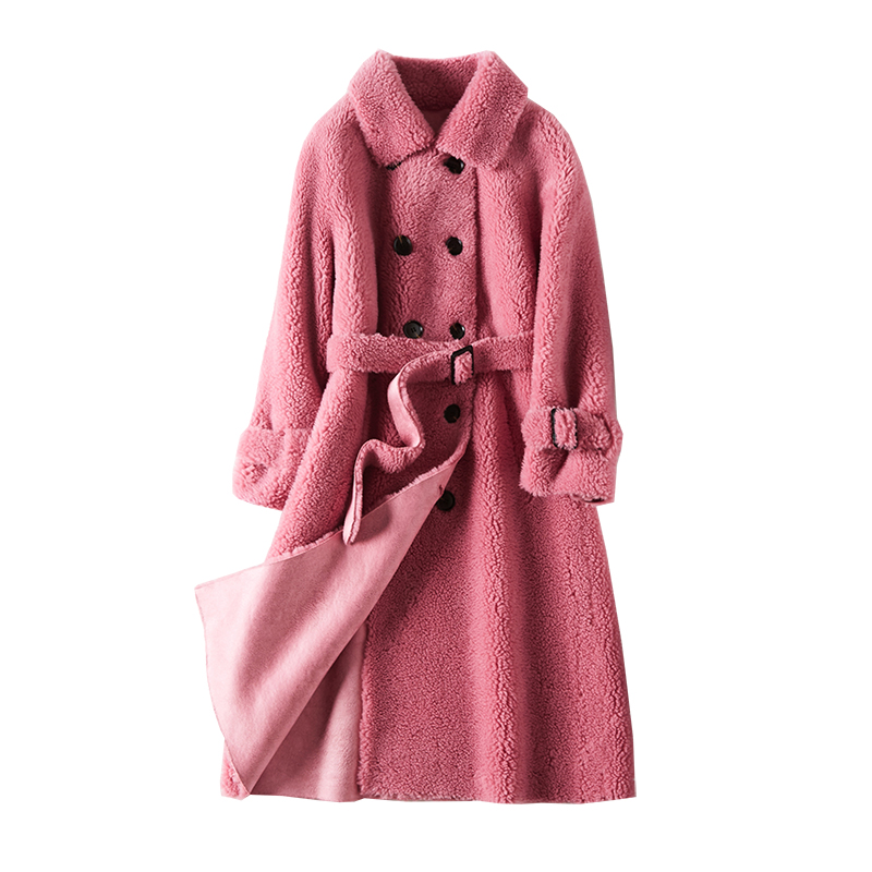 sheep Fur velvet coat  sheared sheep coat female fur long young 2019 new jacket for women Granular wool