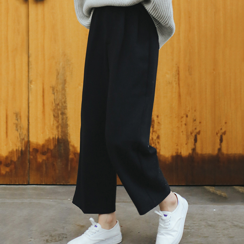 Image 2 - Wide Leg Pants Ulzzang Women Solid High Waist Trousers Pleated Loose Casual Elegant Womens Korean Style Chic School Daily Girls-in Pants & Capris from Women's Clothing