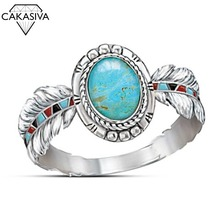 Luxurious Turquoise Eagle Feather Ring Women's 925 Silver Vintage Ring Party Birthday Gift Jewelry