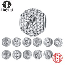 Jiayiqi A TO Z Letter Zircon Beads Charms 925 Sterling Silver Beads Fit 925 Sterling Silver Women'S Bracelets Silver 925 Jewelry(China)