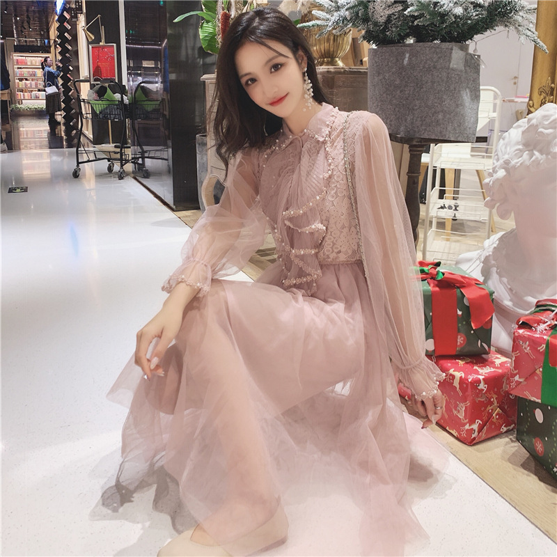 Mesh Dress Women's 2019 Spring New Style Frilled Joint Lace Beads Dress Two Pieces