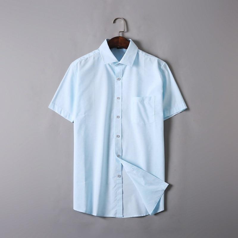 Men Shirt Short-Sleeve Slim-Fit Casual Big-Size Summer Pure-Cotton 5XL 6XL Brand Tops