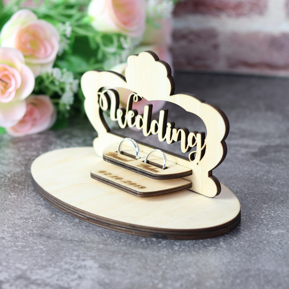 Customized Wedding Gifts Ring Bearer Box  Personalized Ring Holder Nature Ring Box For Engagement  Name Ring Pillow Decorations (4)