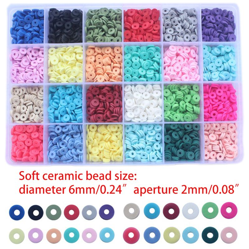 4800Pcs 24 Colors 6mm Flat Round Polymer Clay Discs Loose Spacer Beads for DIY Jewelry Making Craft Bohemian Bracelet