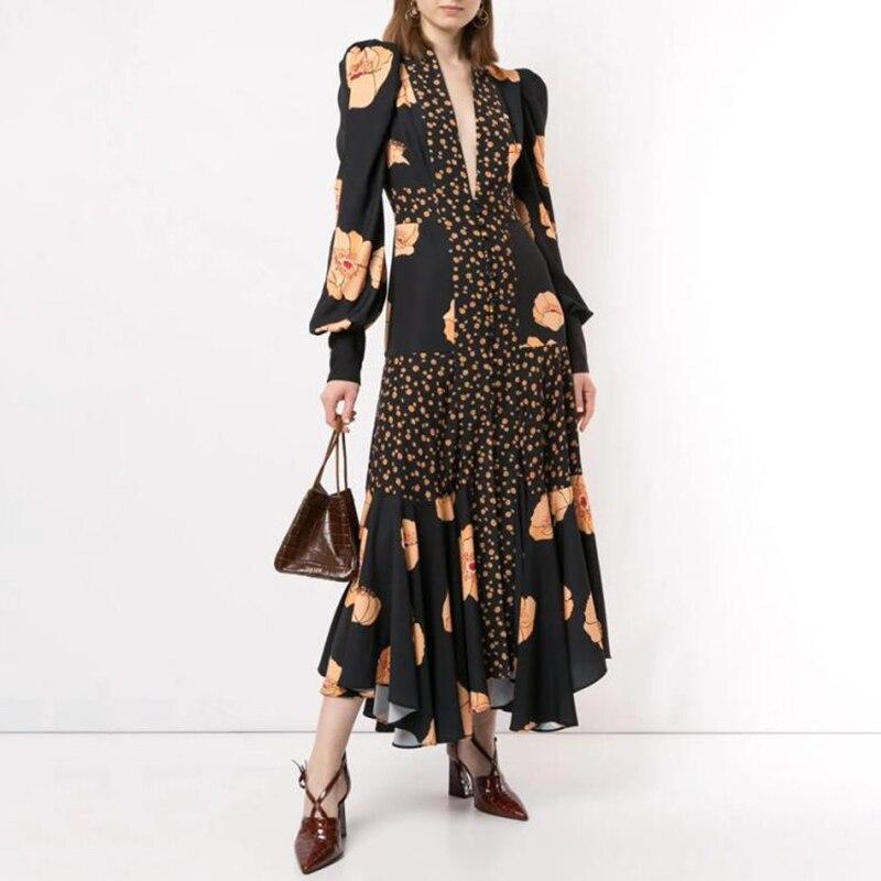 Patchwork imprimer Maxi robes pour femmes col en V lanterne à manches longues femme une ligne robe 2019 automne mode vêtements nouveau