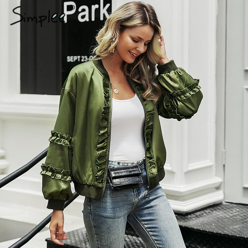 Simplee Ruffled zipper windbreaker women   basic     jacket   coat Long sleeve female outwear coat Ladies motorcycle bomber   jacket   2019