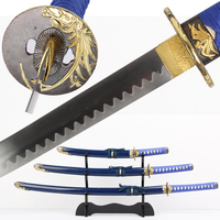 Free Shipping Decorative Sword Japanese Samurai Set Swords 3PCS With Stand Real Steel Blade Flower Design Blue/ Black Colors