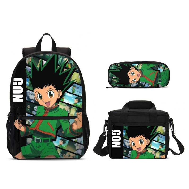 3 pièces/ensemble cartable décontracté avec sac de nourriture enfants chasseur X Hunter imprimer enfants école sac à dos Bookbag pour adolescents garçons filles Mochila