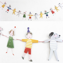 AVEBIEN 2.9m Boy Girl Paper Pull flag Cute Cartoon Character Bunting Birthday Party Ornament Baby Shower Home Decoration DIY