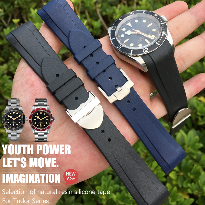22mm Rubber Silicone Watch Strap Black Blue Watch Band Suitable For Tudor Black BayIWC Omega Tag Heuer AQUARACER Bretling Watch