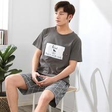 2019 Summer Short Sleeve Cotton Pajamas Sets for Men Plaid P