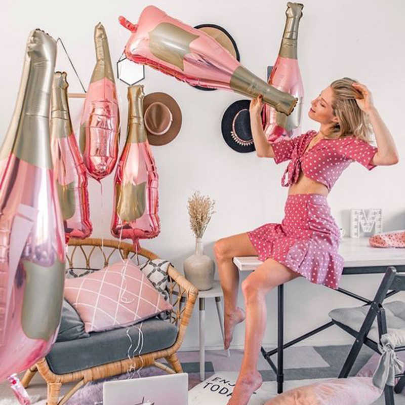 1 pçs rosa ouro champanhe garrafa de vinho mylar balões decorações de festa dia dos namorados chá de panela casamento decoração de despedida
