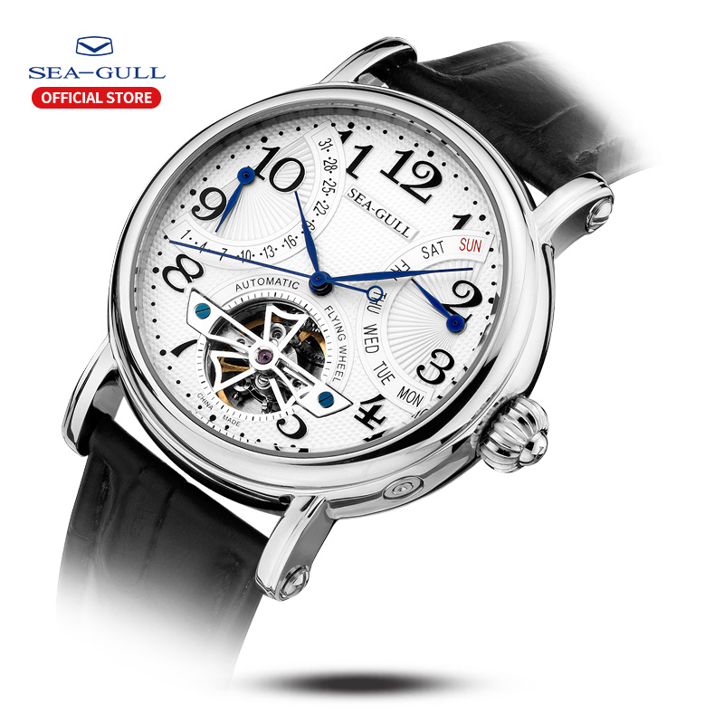 Image 2 - Seagull Business Watches Mens Mechanical Wristwatches Week Calendar 50m Waterproof Leather Male Bracelet Clasp Watch M171SMechanical Watches   -