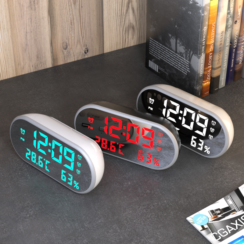 Electronic Mirror Alarm Clock with LED Display and Backlight for Desk Along with Temperature and Humidity Display 2