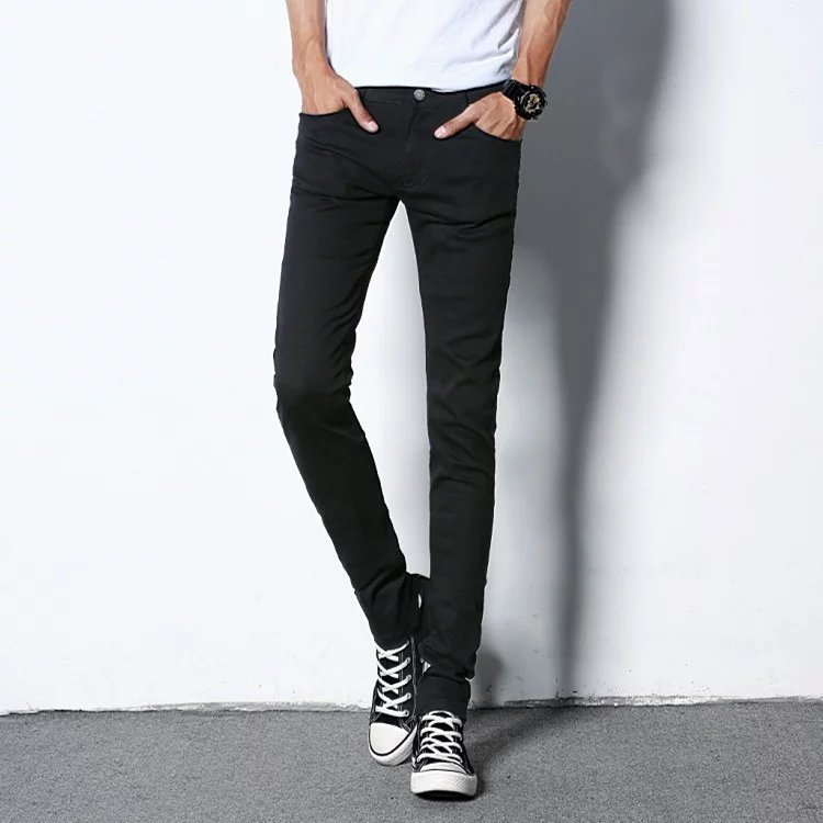Spring MEN'S Jeans Slim Fit Pants Students Spring And Autumn Casual Long Pants Korean-style Trend Card Popular Brand Versatile