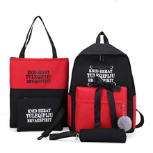 2019 fashion  Girl S School Bag Womens Korean-style High Backpack Leisure backpack Campus four-piece