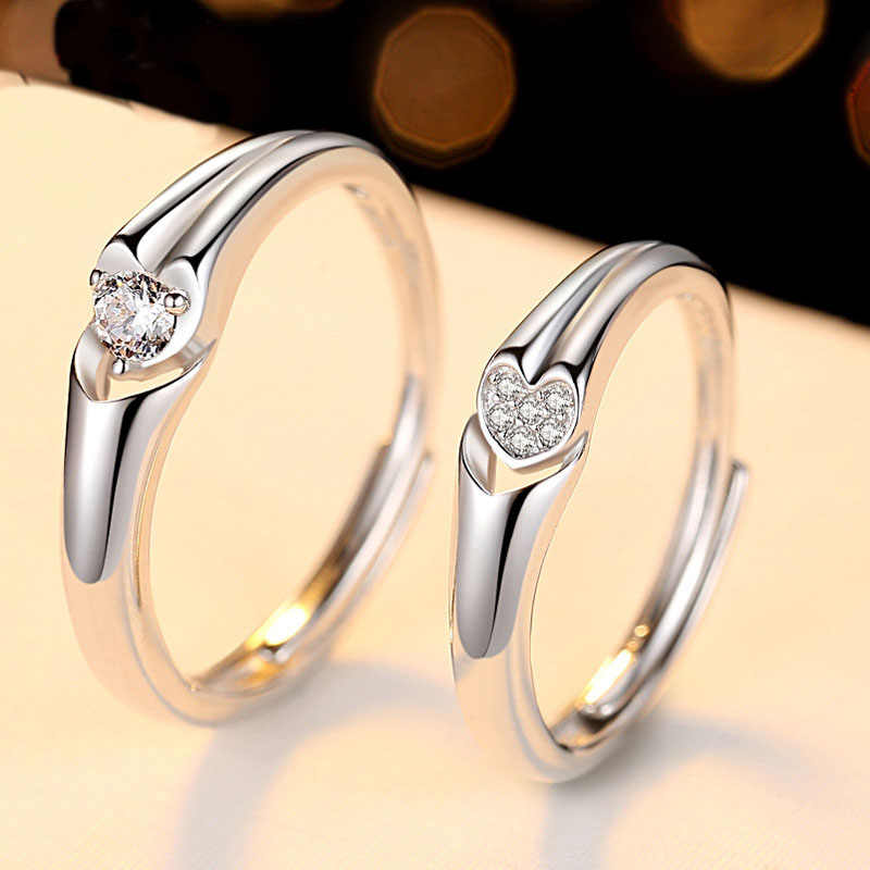 Couple Ring Sets For Wedding Bride And Groom Solid 925 Sterling