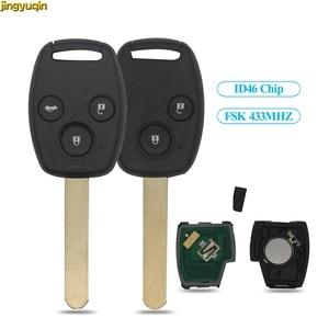 jingyuqin 2/3 BTN FSK 433MHZ ID46 Chip Remote Car Key Fob Shell For Honda CR-V CRV Civic Insight Ridgeline Accord 2003 2008 2009(China)
