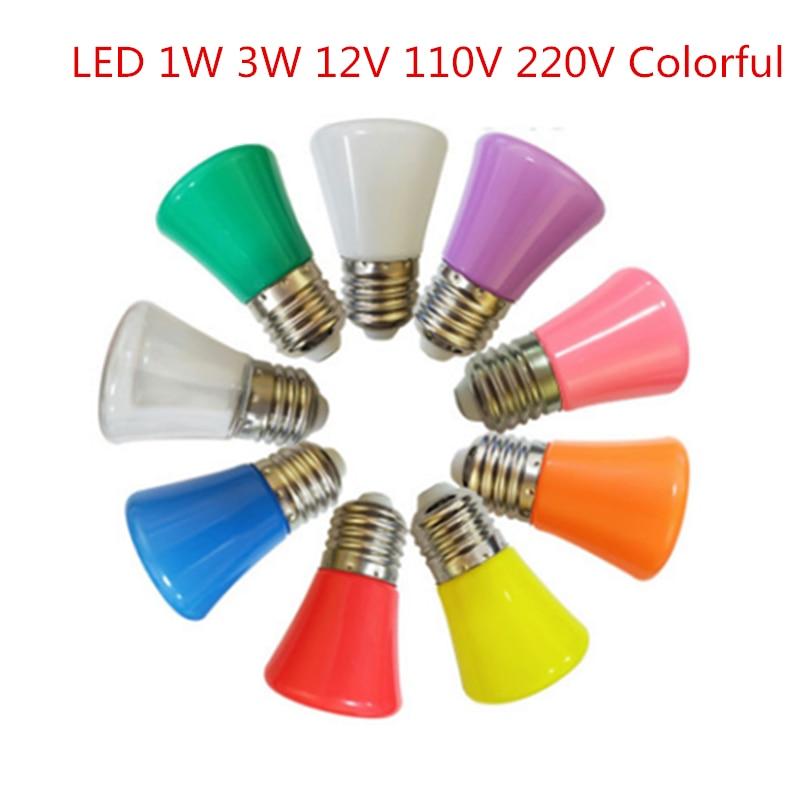 LED Blubs Crown Colorful 3W E27 B22 12V 110V 220V Indoors Red Blue Green WH Pink LED Light Bulb Lamp For Home Lighting Christmas