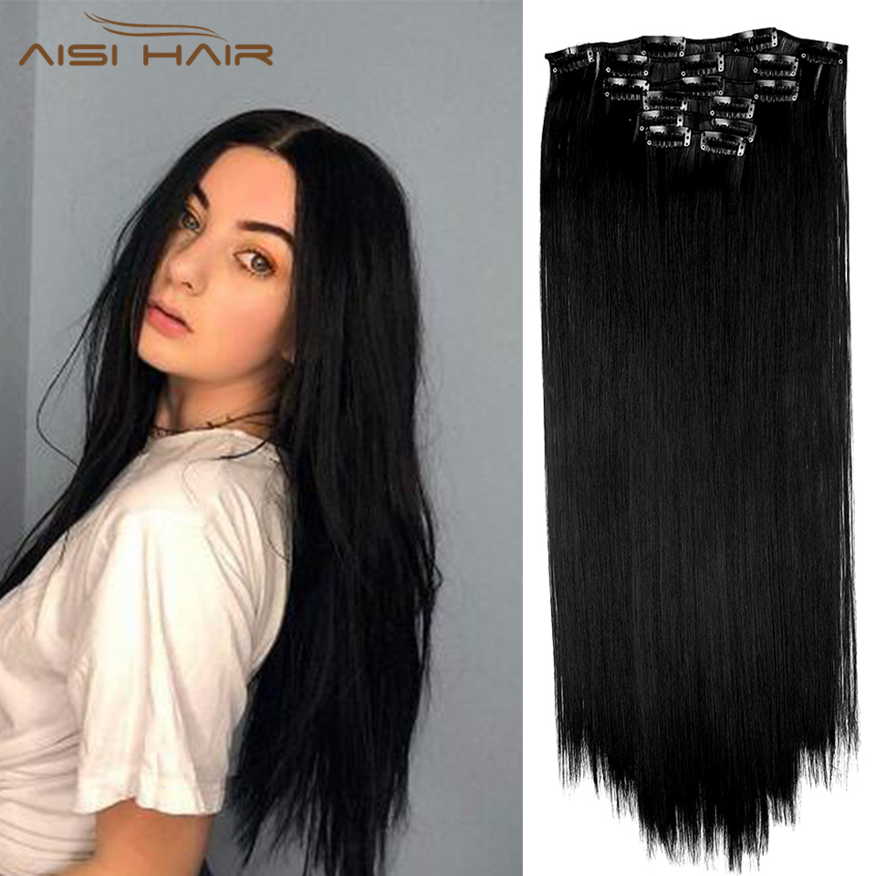 Black Hair Extensions Long Straight  Clip In Hair 16 Clips Wavy Synthetic Heat Resistant Hairpiece For Women Girls  Lady Daily