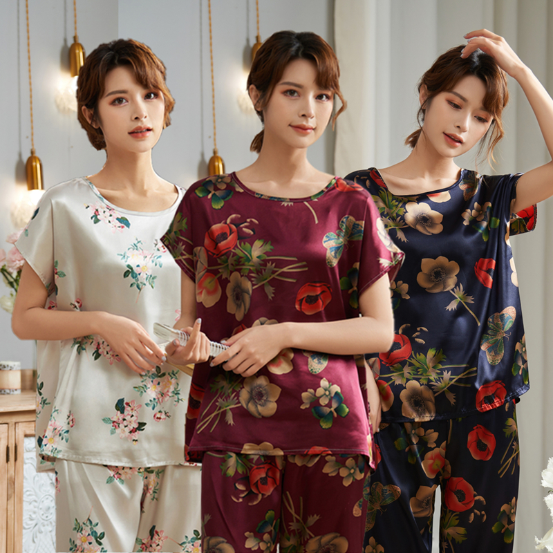 Short Sleeve Ice Silk Pajamas Spring Women Summer Pajama Sets Mother Sleepwear Pyjamas Plus Size 3XL 4XL 5XL 85kg Nightwear Set