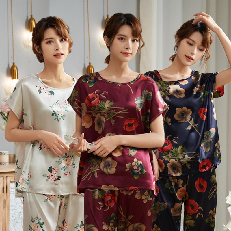 Short Sleeve Ice Silk Pajamas Spring Women Summer Pajama Sets Mother Sleepwear Pyjamas Plus Size 3XL 4XL 5XL 85kg Nightwear Set