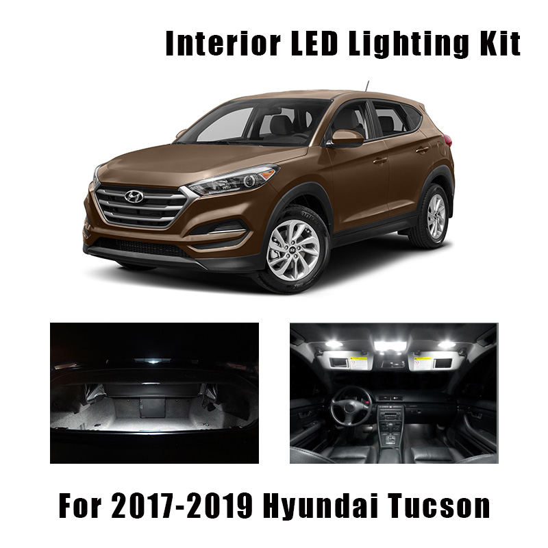 12pcs White Bulbs Car LED Interior Map Dome Light Package Kit Fit For 2017 2018 2019 Hyundai Tucson Trunk Mirror License Lamp
