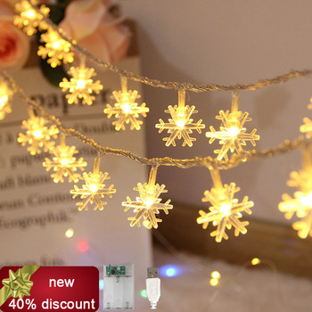 USB/Battery  LED snowflake Garland Lights Fairy String Waterproof Outdoor Lamp Christmas Holiday Wedding Party Lights Decoration usb battery led snowflake garland lights fairy string waterproof outdoor lamp christmas holiday wedding party lights decoration