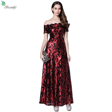 Sequin Dress Red&Black or Royal Blue Maxi Gowns Off the Shoulder Floor-Length El