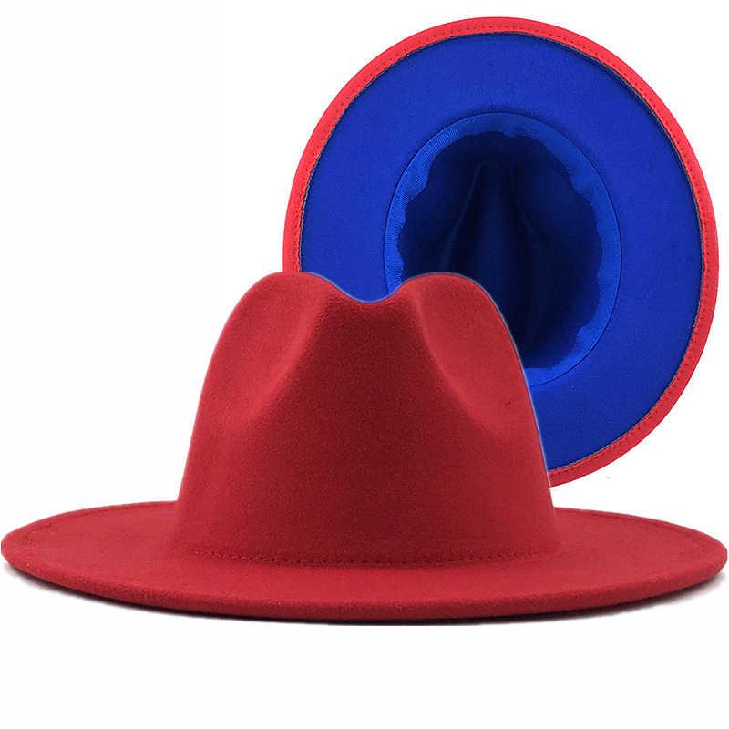 간단한 외부 블루 내부 레드 울 펠트 재즈 페도라 모자 얇은 벨트 버클 남자 여자 와이드 브림 파나마 Trilby 모자 56-58-60CM