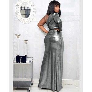 Image 4 - فساتين أفريقية للنساء الجديدة الأكثر مبيعًا ملونة البرنز نساء حفلة فستان طويل الخامس الرقبة فتاة أصغر فستان طويل