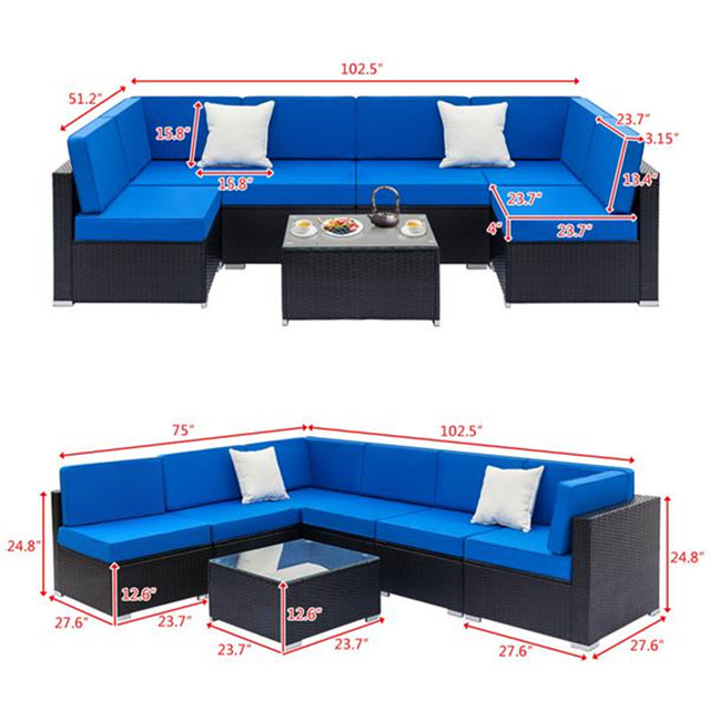 Weaving Rattan Sofa Set with 2pcs Middle Sofas &1 pc Coffee Table Black Embossed 6