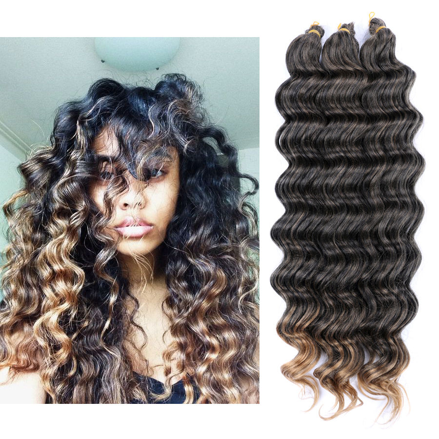 "DAIRESS 20"" Ocean Wave Braiding Hair Crochet Braids Deep Wave Crochet Hair Extensions Crochet Braiding Hair Crochet Bulk Hair"